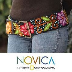 @Overstock - Joucelyn Pasara celebrates the textile traditions of Huanta with this exquisite wool belt. Woven by hand, the belt is embroidered and accented with leather.http://www.overstock.com/Worldstock-Fair-Trade/Wool-Black-Night-Bouquet-Leather-Trim-Belt-Peru/6475512/product.html?CID=214117 $57.99