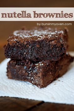 Nutella Brownies - Ingredients: 1 cup (2 sticks) butter 2 1/4 cups sugar 1/2 cup Nutella 4 large eggs 1 1/4 cups cocoa powder 1 teaspoon salt 1 teaspoon baking powder 1 teaspoon espresso powder, optional 1 tablespoon vanilla extract 1 1/2 cups all-purpose flour 10 ounce package Hersheys Milk Chocolate Baking Melts (or chocolate chips) by graciela