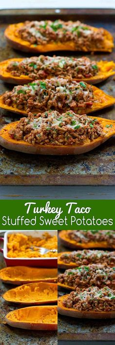 Can be made Whole30 compliant by leaving off the cheese.  20 minute meal! These Turkey Taco Stuffed Sweet Potatoes are a fantastic option when you need a quick dinner recipe. 234 calories and 6 Weight Watchers SmartPoints