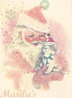 Vintage Kitsch Santa with Kitten Card by modclaudia on Etsy
