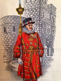 VTG Lamont Linen Tea Towel  Yeoman Guard Beefeater Tower Of London Souvenir