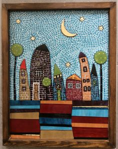 Best 11 Small Town by Liz Shepard – Small Town Glass Art – Small Town Fine Art Prints and Posters for Sale – SkillOfKing. Mosaic Tray, Mosaic Tile Art, Mosaic Artwork, Mirror Mosaic, Mosaic Crafts, Mosaic Projects, Mosaic Glass, Art Projects, Glass Art