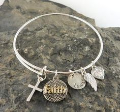 Faith Personalized Hand Stamped Adjustable Wire Bangle Bracelet