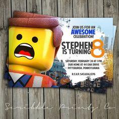 Lego Movie Birthday Party Invitation // Emmet by ScribblePrintsCo, $4.95
