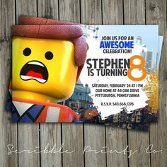 Lego Movie Birthday Party Invitation // Emmet by ScribblePrintsCo, $4.95