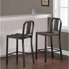 @Overstock.com - Vintage Metal Counter Stool (Set of 2) - These durable 100-percent steel counter-height stools provide years of style and service. The steel stools feature a vintage finish with a comfortable contoured seat and arrive fully assembled, two per carton.  http://www.overstock.com/Home-Garden/Vintage-Metal-Counter-Stool-Set-of-2/8095651/product.html?CID=214117 $199.99