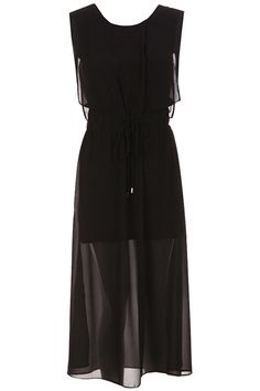 Double-layered Vent Hem Black Dress. Description Black dress, featuring a scoop neck, buttoned shoulder, sleeveless, high-rise waist with elastic design, double-layered design, asymmetric hem with vent design on hem side, extra long styling. Fabric Chiffon. Washing Cool hand wash with similar colours, do not tumble dry. #Romwe