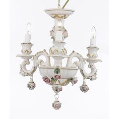 Authentic Capodimonte Porcelain Chandelier Light Fixture! Capodimonte is a smiling hill of Naples where Charles III, King of the two Sicilies, desired to add the building of the Real Factory of Porcelain to his luxurious royal palace in 1793. The art of Capodimonte ceramics and procelains was born in this way, has had several triumphs, and is now known for its superb craftsmanship and quality coupled with beautiful designs. Now, these pieces are in museums world wide or in the collections of…
