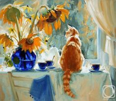 Maria Pavlova Cat Paintings-Cats and flowers Cat Drawing, Painting & Drawing, Image Chat, Pin Image, Art Watercolor, Art Et Illustration, Animal Paintings, Dog Art, Painting Inspiration