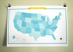 United States of America Map - Mint/Blue - a modern design print by finkastudio. On sale at etsy. #modernmap