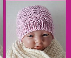 textured stitch beanie knitting pattern, for prem and newborn babies. Crochet Baby, Knit Crochet, Knitted Baby Beanies, Baby Knitting Patterns, Knitting Ideas, Romper Pants, Baby Size, Headbands, Doll Clothes