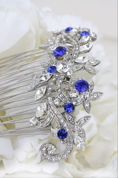 sapphire blue swarovski crystal bridal hair comb by bridalwear