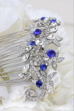 sapphire blue swarovski crystal bridal hair comb by bridalwear