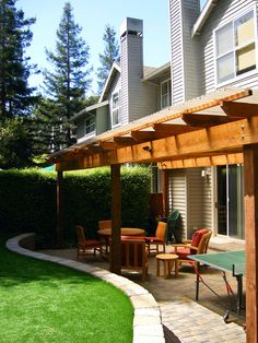 Pergola covering a sunken patio. I really like the sunken patio. Small Covered Patio, Backyard Covered Patios, Covered Patio Design, Covered Pergola, Small Backyard Design, Small Backyard Patio, Backyard Patio Designs, Pergola Designs, Patio Ideas