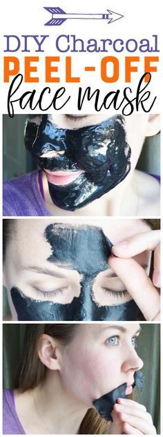 DIY Charcoal Peel-Off Mask - Easy Blackhead Busting Mask - Tips belleza diy - Skin Care Diy Peel Off Face Mask, Blackhead Peel Off Mask, Diy Face Mask, Charcoal Blackhead Mask, Diy Facial Peel Mask, Blackhead Remover Homemade, Belleza Diy, Tips Belleza, Masque Peel Off Charbon
