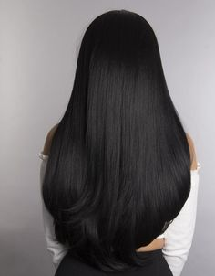 Jet Black - Our boldest, darkest black with cool undertones makes a dramatic, mysterious impression. Long Straight Black Hair, Hair Color For Black Hair, Dyed Black Hair, Black Wig, Black Colored Hair, Raven Hair Color, Natural Black Hair Color, Black Hair Wigs, Girls With Black Hair