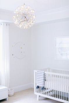 All White Celestial Nursery Design Reveal By Little Crown Interiors Baby Furniture Wall