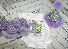 Girls Birthday Hat, Diaper Cover, Onesie - Look Whoos One Owl Hoot   FreshSqueezedBaby - Children's on ArtFire
