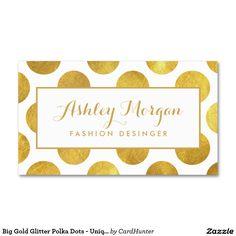 ユニークで、スタイリッシュな大きい金ゴールドのグリッターの水玉模様- スタンダード名刺