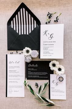 Elegant Black and White Invitations with Natural Gray and Greenery Black And White Wedding Theme, Black And White Wedding Invitations, Elegant Wedding Invitations, Wedding Stationary, Modern Wedding Reception, Fall Wedding, Our Wedding, Dream Wedding, Wedding Goals