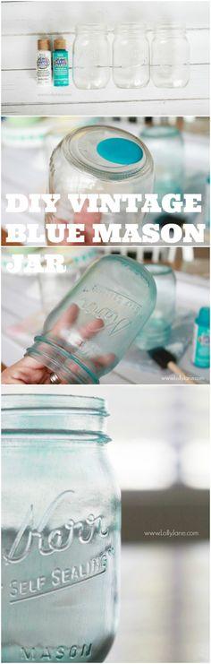 DIY vintage blue mason jar, easy step by step! via @Lolly Jane {lollyjane.com}