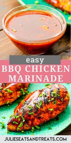 BBQ Chicken Marinade is easy to make and gives your grilled chicken so much flavor! It will get your the BEST tender, juicy and delicious chicken breasts hot of your grill. It's the perfect way to enjoy the summer grilling season! #chicken #marinade Best Bbq Chicken Marinade, Easy Bbq Chicken, Chicken Marinades, Grilled Chicken Recipes, Recipes With Few Ingredients, Smoking Recipes, Yum Yum Chicken, Chicken Breasts, Sauces