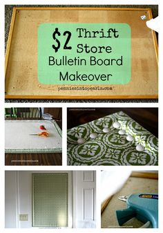 $2 Thrift Store Bulletin Board Makeover - inspiration on how to turn a worn out bulletin board into something frugal and fabulous to beautify your home