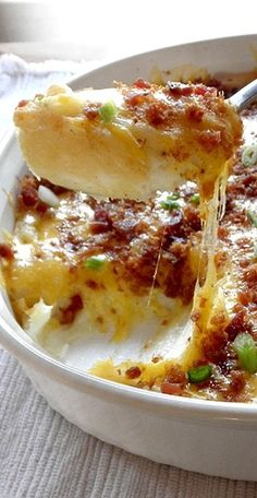 Twice-Baked Potato Casserole with Cheese, Sour Cream, Bacon, and Garlic