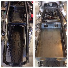 Before and after of my custom battery box for the antigravity 8 cell lithium battery and other electronics that will hide under the seat. I will be attaching and powder coating later.