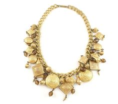 Miriam Haskell gold charm necklace with topaz beads