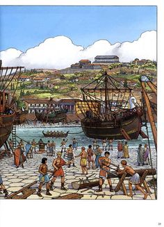 """Ship yard in Rome ~ interior page from """"Les Voyages d'Alix book 8 : La marine antique 2"""" art by Marc Henniquiau"""