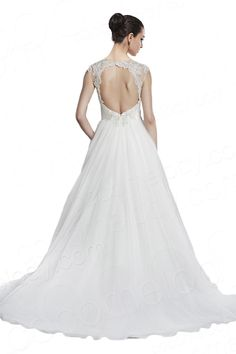 Classic A-Line Straps Natural Court Train Organza White Sleeveless Open Back Wedding Dress with Beadings CWAT15001 $429.00 wedding dress, wedding dress, wedding dress, wedding dress, wedding dress