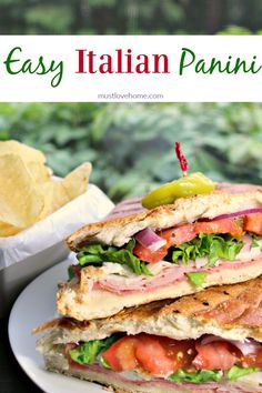 Easy Italian Panini http://www.mustlovehome.com/easy-italian-panini/ a perfect blend of meat, cheese, and spices on a crispy hot roll