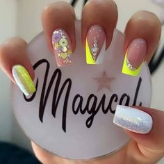 Glow Nails, Glitter Nails, Super Cute Nails, Pretty Nails, Hello Nails, Fire Nails, Cute Acrylic Nails, Nail Technician, Creative Nails