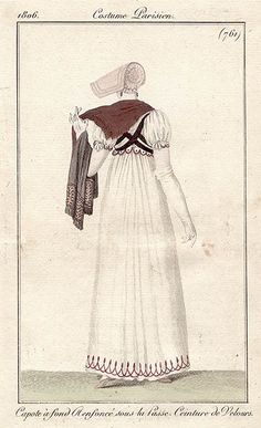Back of white gown with black sash 1806 Costume parisien