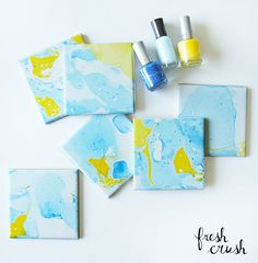 Marbling DIY, in a few easy steps with nail polish and water and a few simple steps. Turn cheap items into high-style decor!
