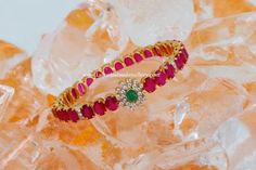 Ruby and diamond bangle. Indian jewellery fashion.