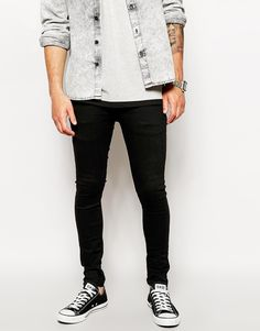 Buy ASOS Extreme Super Skinny Jeans In Black at ASOS. With free delivery and return options (Ts&Cs apply), online shopping has never been so easy. Get the latest trends with ASOS now. Skinny Love, Super Skinny Jeans, Tight Jeans Men, Spray On Jeans, Asos Fashion, Male Fashion, Outfit Grid, Slim Fit Trousers, Jean Shirts