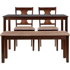 HomeTown Artois Engineered Wood 4 Seater Dining Set (Finish Color – Dark Walnut) At From Flipkart Dining Table Set Designs, Dining Set, Dining Bench, Dining Table Online, Engineered Wood, Home Decor Items, Decorative Items, Solid Wood, Upholstery
