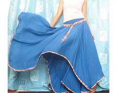New Blue Flowing Long Maxi Skirt Party Sundress - MyParadise - Maxi Skirts