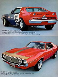Items similar to 1971 American Motors Javelin AMX Trans-Am Champion Vintage Car Advertisement 1972 Javelin-AMX Muscle Car Photo Print Ad Racing Wall Art on Etsy Old Muscle Cars, American Muscle Cars, Trans Am, Rat Rods, Rambler American, Amc Javelin, Jeep, American Motors, Pony Car