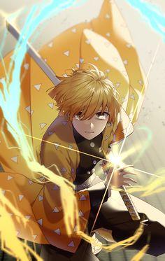 Demon Slayer:Kimetsu No Yaiba : Zenitsu Manga Anime, Anime Demon, Otaku Anime, Anime Art, Demon Slayer, Slayer Anime, Espada Anime, Manga Japan, Character Art