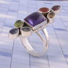 Hot Sell 925 STERLING SILVER Amethyst & Multi Stone AMAZING RING 6.86g DJR3508 #Handmade #Ring
