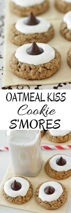 Oatmeal Kiss Cookie S'mores #oatmealcookies #smorescookies #cookies #kisscookies #blossomcookies