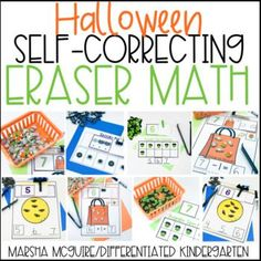 Halloween Erasers Self-Correcting Math Activities1 Differentiated Kindergarten, Kindergarten Activities, Preschool, Learning Tools, Learning Centers, Counting Bears, Interactive Board, Math Writing, Magnetic Letters
