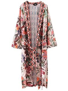 Floerns Women's Floral Long Kimono Cardigan Beach Swimsuit Cover Up Pink S - Brought to you by Avarsha.com