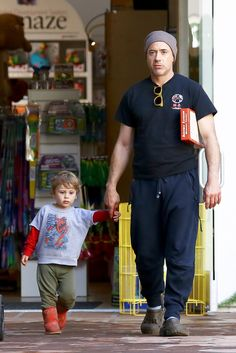 Robert Downey Jr. and his son Exton, toy shopping, February 27, 2014
