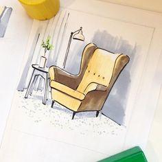 В ближайшую субботу в студии @drawyourcity будем рисовать интерьеры. Пуфики и кресла для разогрева 😜 #drawyourcity #drawyourcity_workshop #sania_sketch #sketch #drawyourcity_studio