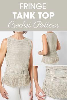 Excellent Picture of Crochet Tank Top Pattern Crochet Tank Top Pattern Fringe Tank Top Crochet Pattern Cream Of The Crop Crochet Crochet Tank Tops, Crochet Summer Tops, Crochet Shirt, Crochet Jacket, Crochet Sweaters, Easy Crochet, Free Crochet, Crochet Bodycon Dresses, Black Crochet Dress