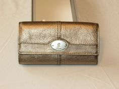 Fossil SL3291044 Marlow Flap Clutch Pewter Metallic Multi Leather Wallet NWT^^ #Fossil #Clutch